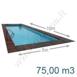 Lauko-vidaus betoninis baseinas 10,0 x 5,0 m