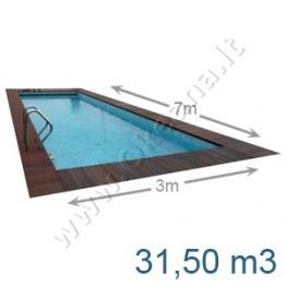Lauko-vidaus betoninis baseinas 7,0 x 3,0 m