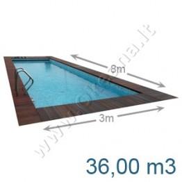 Lauko-vidaus betoninis baseinas 8,0 x 3,0 m