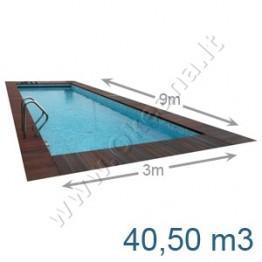 Lauko-vidaus betoninis baseinas 9,0 x 3,0 m