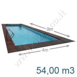 Lauko-vidaus betoninis baseinas 9,0 x 4,0 m