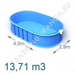Plastikinis vidaus - lauko baseinas 4,0 x 2,9 m    Plastikiniai baseinai