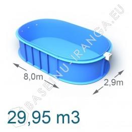 Plastikinis vidaus - lauko baseinas 8,0 x 2,9 m   Plastikiniai baseinai