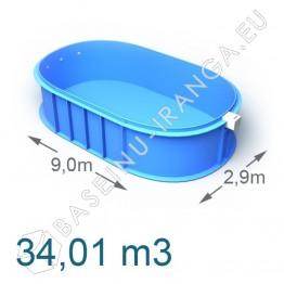 Plastikinis vidaus - lauko baseinas 9,0 x 2,9 m