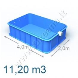 Plastikinis vidaus - lauko baseinas 4,0 x 2,0 m