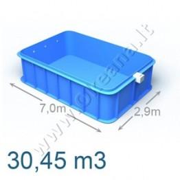 Plastikinis vidaus - lauko baseinas 7,0 x 2,9 m