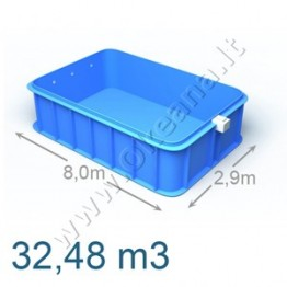 Plastikinis vidaus - lauko baseinas 8,0 x 2,9 m